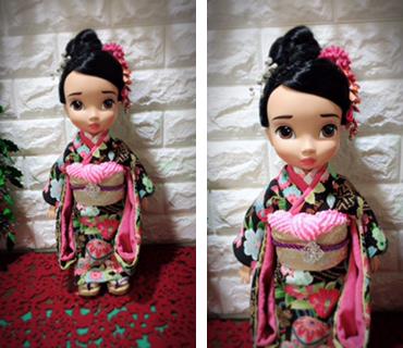 人形着物花と折鶴柄