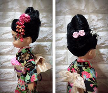 人形着物花と折鶴柄黒地