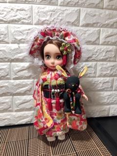 お人形の着物(文化人形風)と帯「華紋(薄紫)」2