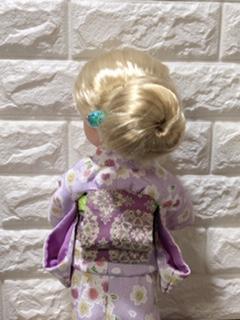 お人形の着物(文化人形風)と帯「華紋(薄紫)」4