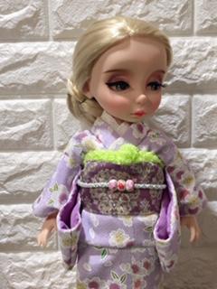 お人形の着物(文化人形風)と帯「華紋(薄紫)」3