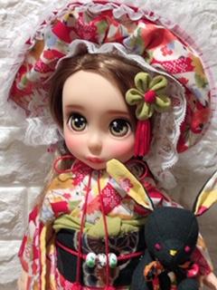 お人形の着物(文化人形風)と帯「華紋(薄紫)」1