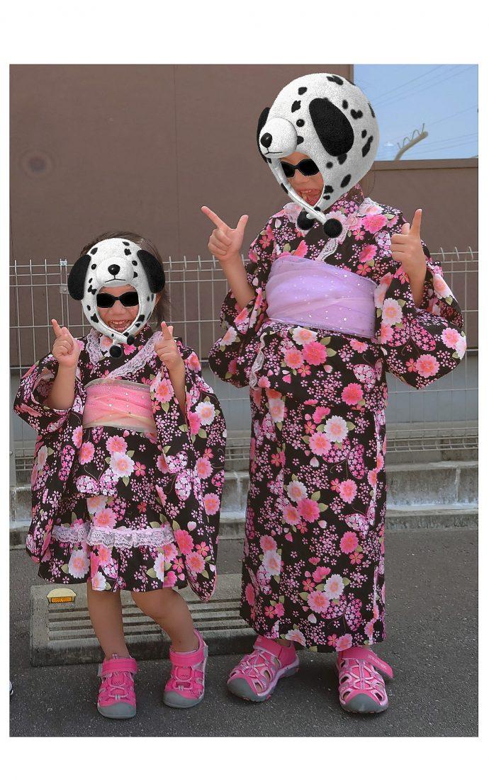桜柄黒浴衣子供手作り